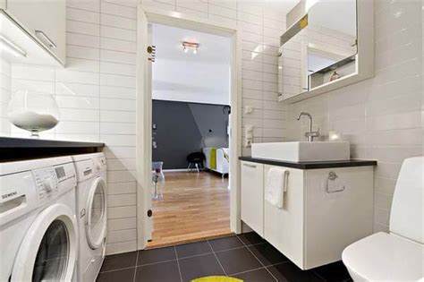A Combined Laundry And Bathroom