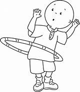 Caillou Coloring Hula Hoop Playing Pages Ring Cartoon Printable Template Coloringpages101 Categories sketch template