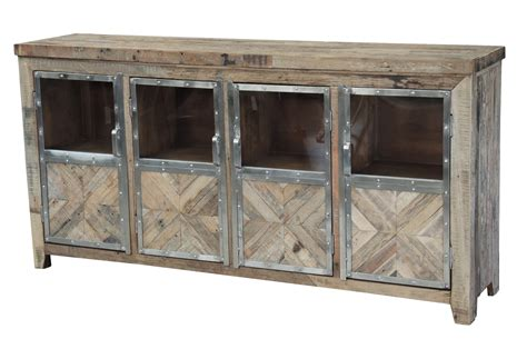 Wood Sideboard Cabinet by Reclaimed Railroad Wood And Chrome Cabinet Sideboard Media