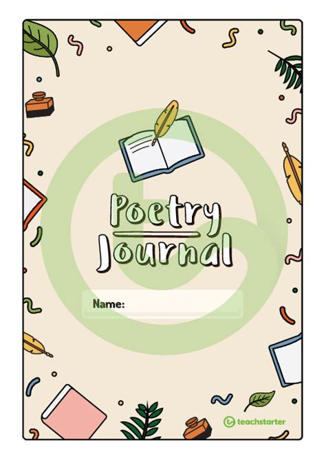 poetry journal book cover teaching resource teach starter