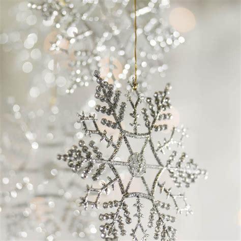silver glitter snowflake ornaments christmas ornaments