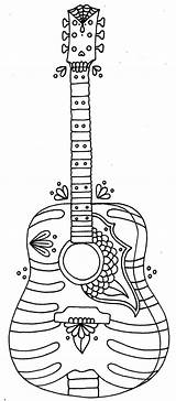 Coloring Pages Printable Summer Guitar Adult Guitars Colors Easy Fun sketch template