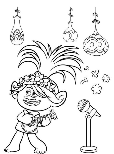 kids  funcom coloring page trolls world  queen poppy