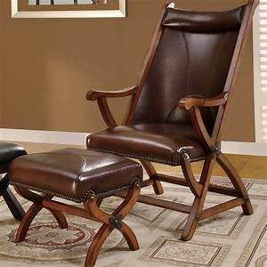 Leather, Accent, Chair, With, Ottoman