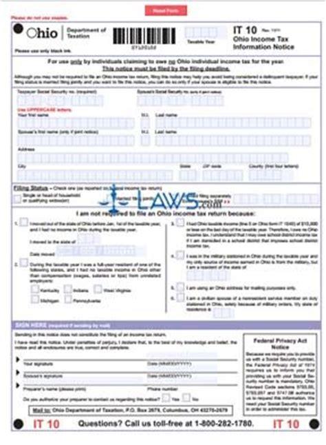 form   ohio income tax information notice ohio forms