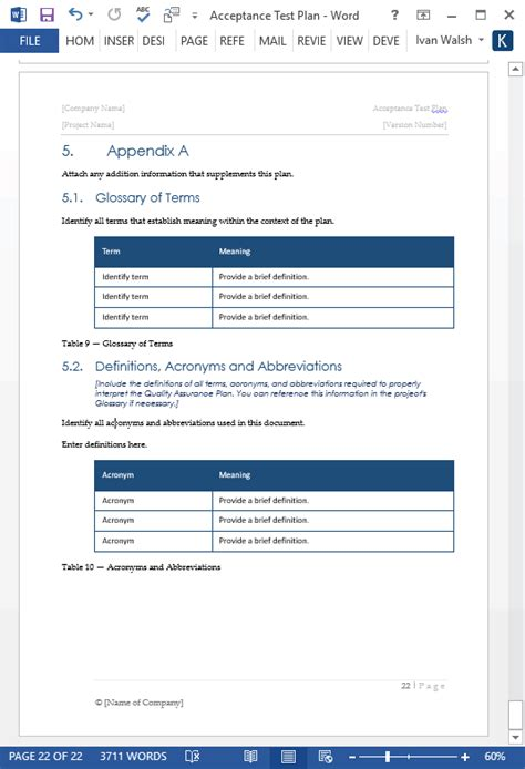 acceptance test plan template ms word templates forms