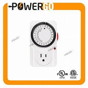 Mechanical Timer Socket Plug 3 Prong Outlet Indoor 24