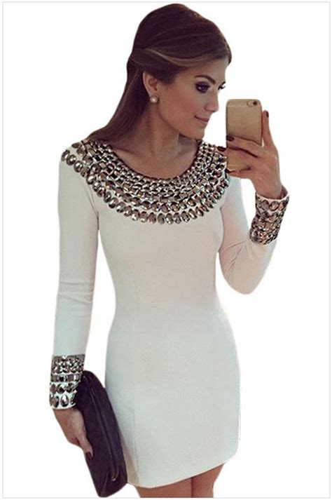 Latest Fashion White Long Sleeve Midi Dress Online Store For Women Sexy Dresses
