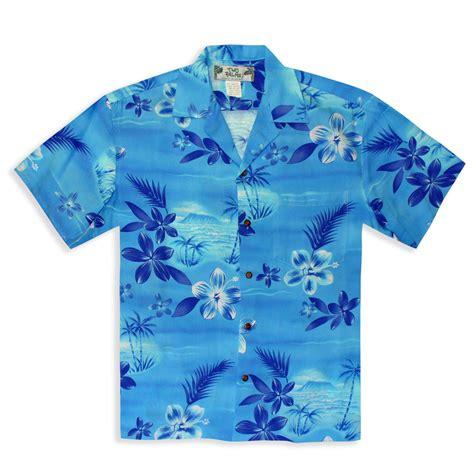 hawaiian shirt moon light blue