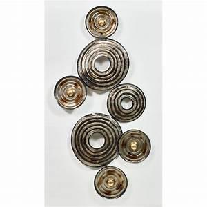 Sculpture Metal Murale : sfera di scultura da parete in metallo argento beige ~ Teatrodelosmanantiales.com Idées de Décoration