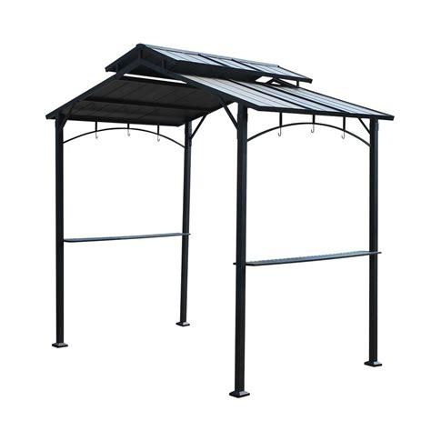 hardtop grill gazebo sunjoy keane 5 ft x 8 ft black steel grill top