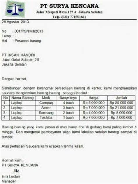 Contoh Surat Permintaan Barang Elektronik by Contoh Surat Permintaan Daftar Harga Block Style