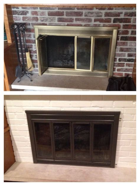 Fireplace Door Paint - before after painting fireplace doors and brick looks