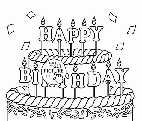 big cake happy birthday coloring page  kids holiday