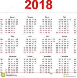 Monday Calendar 2018