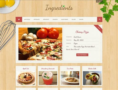 food wordpress themes  sharing recipes