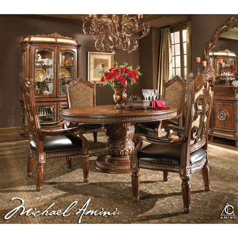 round dining table set for 4 michael amini 5pc villa valencia round oval dining table