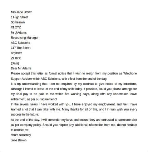 sample resignation letter  notice   documents