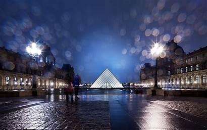 Louvre Paris Night Wallpapers Rain Pyramid Buildings