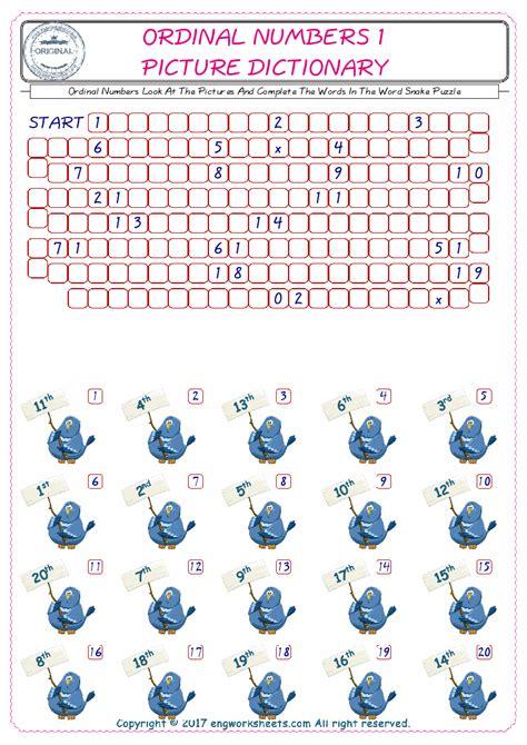 esl printable ordinal numbers english worksheets