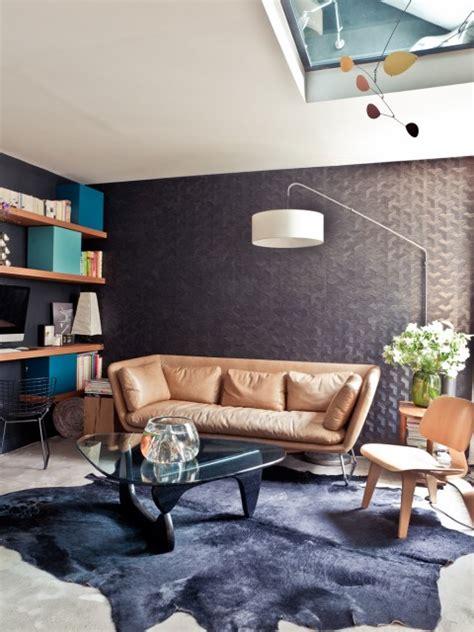 appartement parisien salon decoration retro canape cuir
