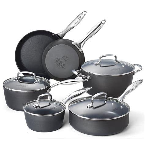 cookware safe oven aluminum anodized hard nonstick dishwasher sets piece kingbox kitchen non stick pans pots amazon cooking pan go