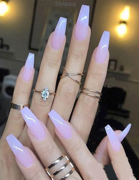 sheer milky pink long nail art trends styles