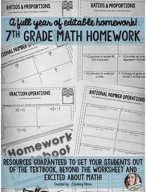 7th Grade Math Homework  A Full Year Of Editable Homework  Math Grades 712  7th Grade Math