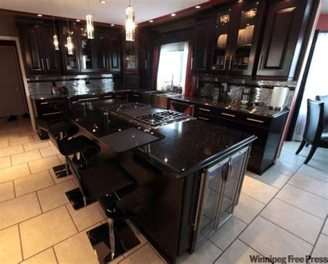 kitchen black galaxy granite countertop with espresso