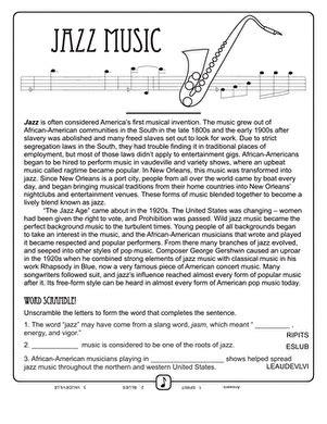history of jazz worksheet education