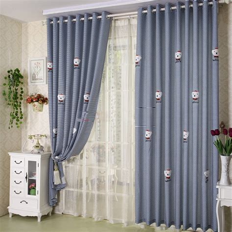 navy blue curtains of striped lines of bear patterns