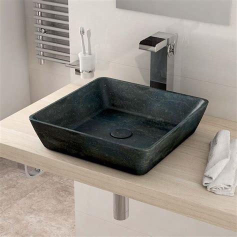 vasque 224 poser en marbre bleu 40x40 cm sorbo