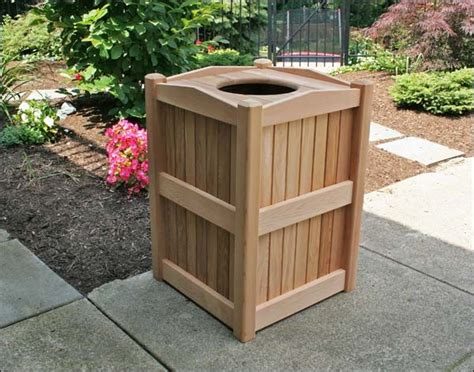 cedar trash can receptacle contemporary outdoor
