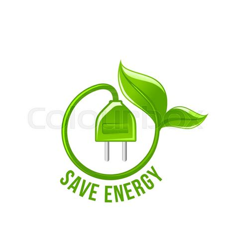 Save Energy Symbol Of Electricity Plug And Green Leaf For