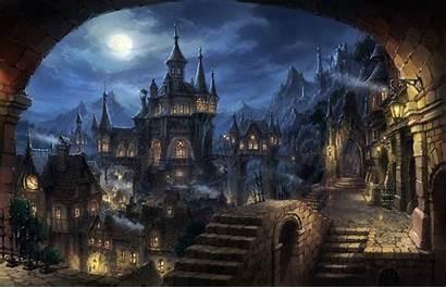 Fantasy Dark Cityscape Desktop Wallpapers Backgrounds
