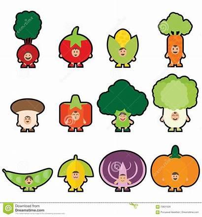 Cartoon Veggies Mascot Vegetables Eating Funny Happy