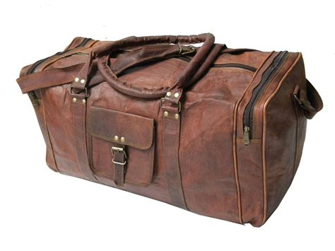 Brown Leather Travel Bag Purse Handmade 20 Inch Brown Goat Leather Duffle Bag