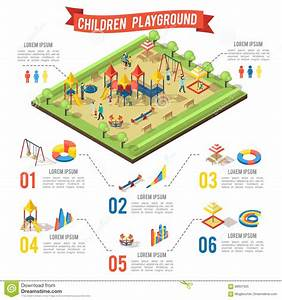 Isometric Playground Infographic Concept Stock Vector