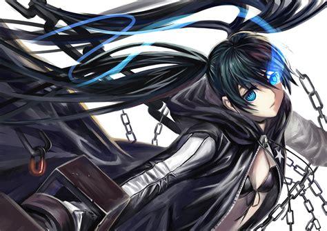 black hair black rock shooter blue eyes bra chain kuroi