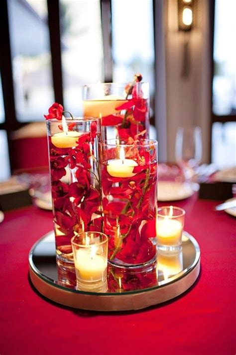 Table Arrangements Diy Red Wedding Submerged Floral