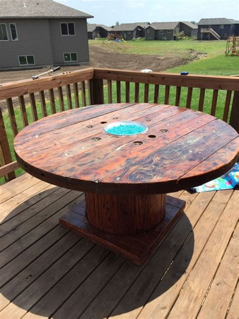 build gas fire table diy rustic wooden spool gas fire pit table fire glass