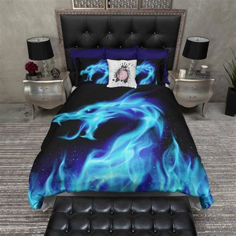 blue flame dragon bedding ink  rags