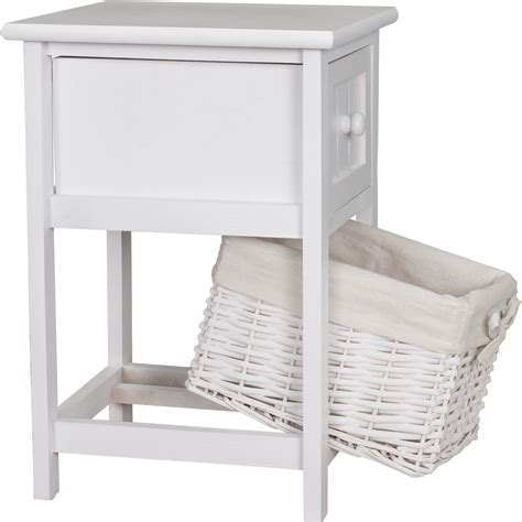 Shabby Chic Wooden White Bedside Cabinet Units Table