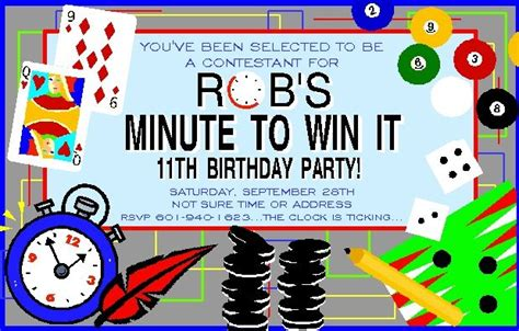 The first one was a few years ago…with a number of 14 year olds. Minute to Win It Invitation | Boy Birthday Invitations ...
