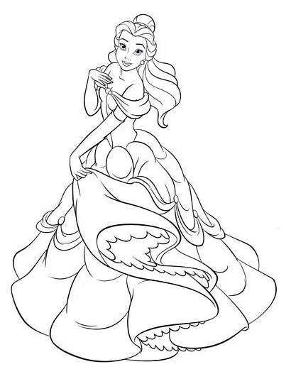Belle Coloring Disney Princess Pages Walt Characters