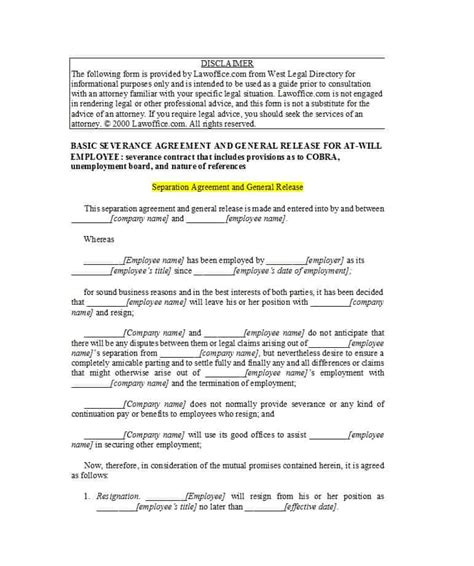 official separation agreement templates letters