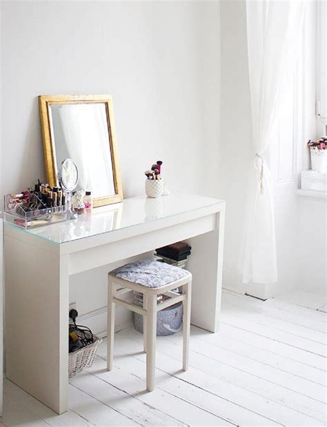 White Wooden Glass Top Dressing Table Ikea Vanity White
