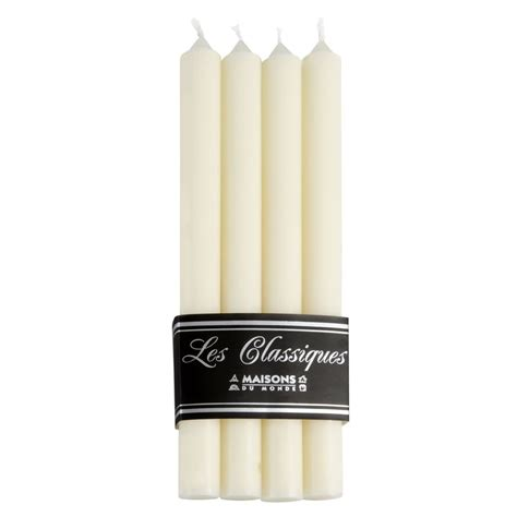 candele maison du monde 4 candele lunghe bianche h 28 cm maisons du monde