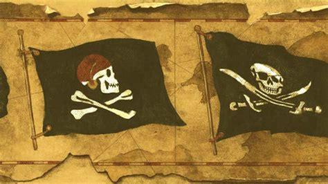 vintage pirate flag worn wallpaper border