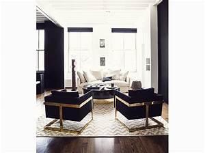 les plus beaux salons reperes sur pinterest elle decoration With deco noir et blanc salon